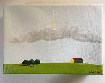 """All Is Calm 5""""x7"""" - Acrylic Landscape Painting"""