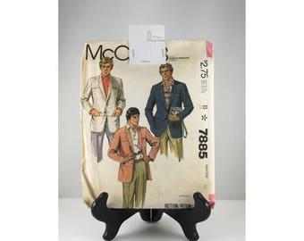 SALE 45% OFF McCalls Sewing Pattern 1980s Mens Sports Coat, Mens Blazer Sewing Pattern, Mens Jacket Sewing Pattern, Pattern 7886, 1980s Sewi