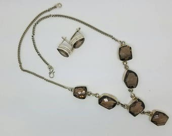 Vintage large smokey quartz necklace and earrings  set