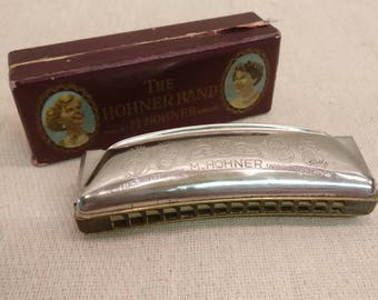 Vintage Hohner Harmonica, The Hohner Band in G with original box
