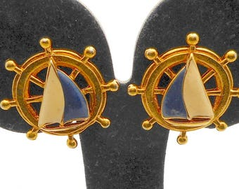 Avon Enamel Nautical Ship Wheel Clip Earrings