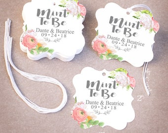 MINT TO BE Wedding Tags Personalized | 25,50,75,100,200 Wedding Favor Tags | Floral Peonies