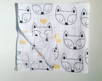 Double gauze printed Fox baby Swaddle. French manufacturing