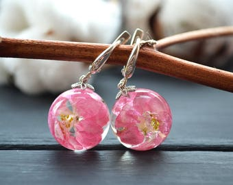 Silver pink flower earrings Terrarium jewelry Flower Resin jewelry Anniversary gifts Inspirational gift  Gift for women