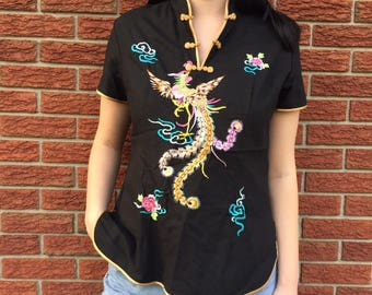 Vintage 90s Chinese Black Embroidered Top Mandarin Collar Size Large
