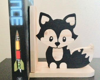 Natural Wooden Fox Bookend - Kids Wood Bookend Nursery Children