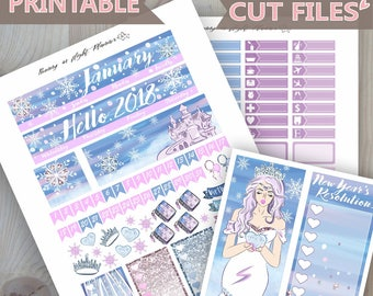JANUARY Monthly Sticker Kit,Snow Queen Printable Happy Planner January Monthly sticker kit,Printable winter Sticker,January sticker kit