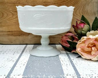 Milk Glass Compote Bowl/E.O. Brody Co. M6000/Milk Glass Dish/Pedestal dish/Vase
