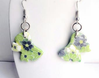 Earrings dangling bow floral green grey and white