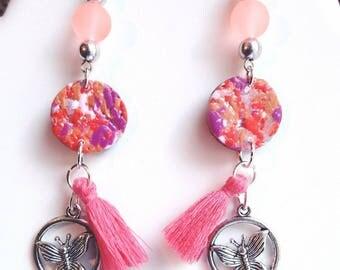 Butterfly and dangling tassel earrings