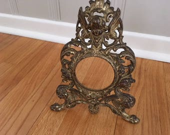 Antique Victorian Metal/brass Cherub Standing Easel Picture frame/Rococo