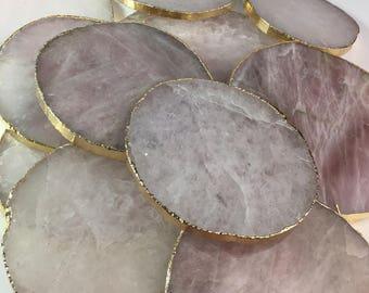 Rose Quartz Coasters, Rose Quartz,Love Stone,Healing Stone,Crystal Coaster,Pink Quartz Coaster,Drink Coasters, ,Wedding Gift, spiritual Gift