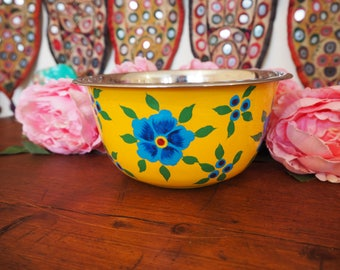 Hand Painted Kashmir Enamelware Gypsy Hippie Floral Glamping Dessert Ice Cream Fruit Bowl