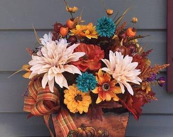 Fall Flower Arrangement, Fall Floral Arrangement, Metal Bucket with Flowers, Thanksgiving Flowers, Fall Autumn Decor, Thanksgiving Table