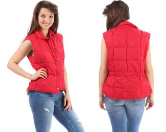Red Goose Down Vest 70s Ski Puffer Insulation Retro Quilted Puffy Sleeveless Jacket Press Button Winter 80s Hipster Vintage 1970s Red Medium