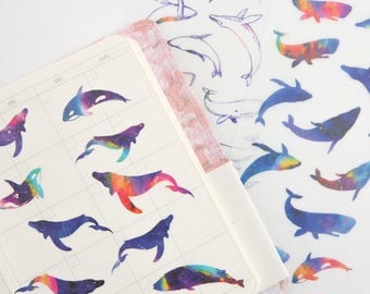 Set of 6 Whales Washi Stickers - Planner, Journal, Craft, Scrapbooking, Decoration