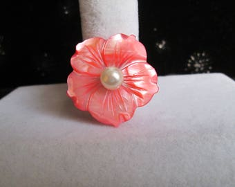 Carved Coral Mother of Pearl Flower and White Glass Pearl Pin #4