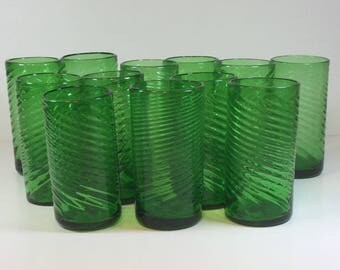 Set of 6 Green Drinking Glasses with Swirl Design/Hand Blown Green Drinking Glasses