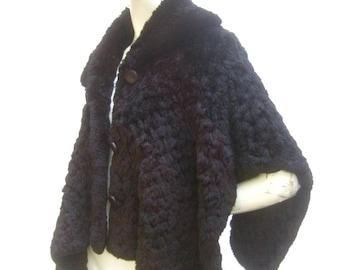 Plush Italian Black Sheared Rabbit Fur Caplet Shrug for Neiman Marcus