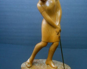 Sleek Midcentury Hand Carved Wood Female Golf Statue