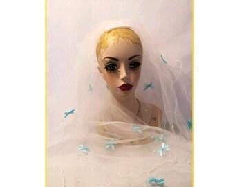 Veil, Blue Bow decorated Shoulder veil, unique veil, quirky, fun, Hen Party, unusual bride veil, blue bridal veil, pearl veil, fun brides