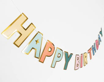 Gold Outline Rainbow Colours Happy Birthday Lettering Banner // Happy Birthday // Birthday Parties // Party Decor // Birthday garland