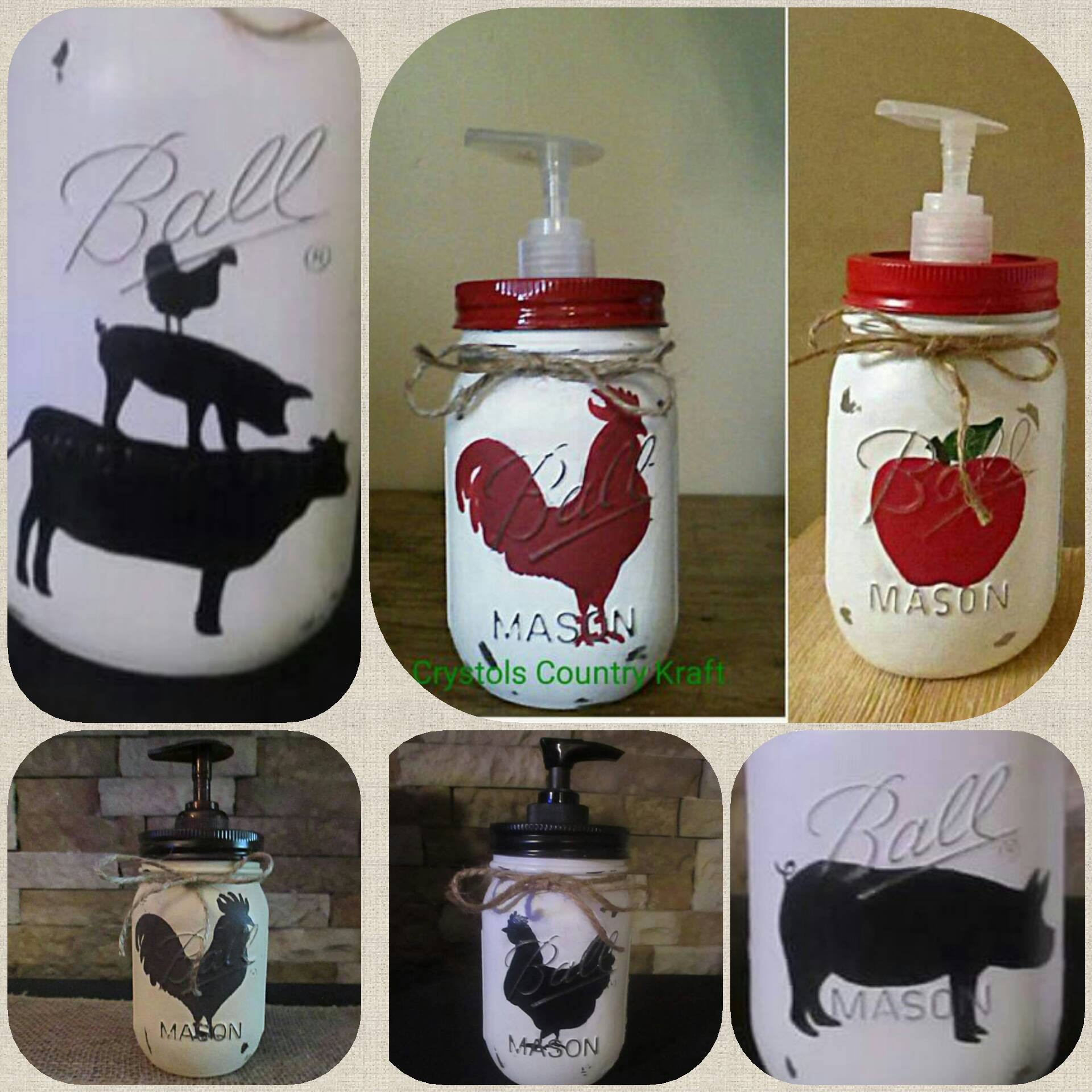 Kitchen soap dispensers farm house decorcowpig rooster