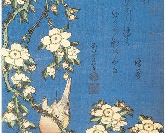 Japanese Repro Woodblock Weeping Cherry and Bullfinch Hokusai Picture Fine Art Print Poster A3 A4