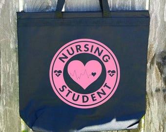Nursing Student Large Zippered Tote