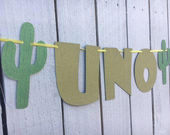 "Cactus ""UNO"" Highchair Banner for First Birthday 