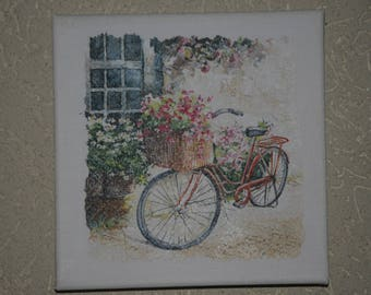 """small painting, square, theme """"bike flowers"""""""
