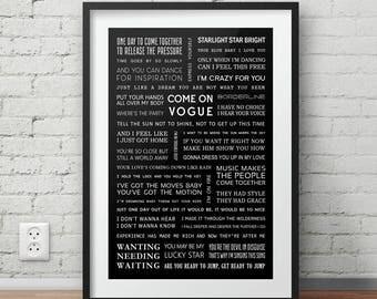 Madonna song lyrics poster | A4 size