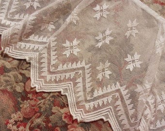 Very long antique wheel, embroidered tulle, for curtains