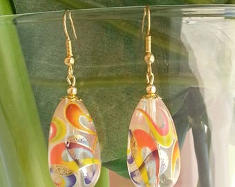 Japanese Tensha beads orange and gold - earrings-