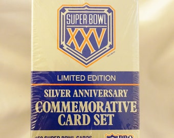Super Bowl XXV, UNOPENED, Vintage NFL Cards, Limited Edition, Silver Anniversary, Vintage Football Cards, Gifts For Him, Huge Sale