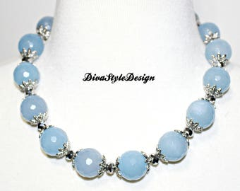 Blue Faceted Agate Statement Necklace with Silver Accents