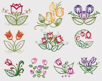 Tip Toe Tulips Machine Embroidery Designs