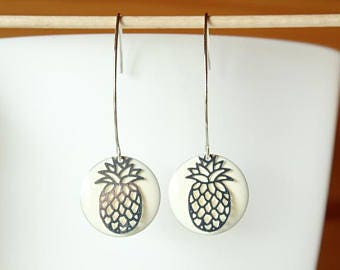 Off white enameled sequin and silver filigree pineapple earrings