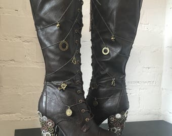 Steampunk knee boots