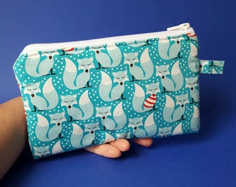Pouch, cotton foxes print