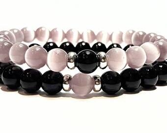 couple bracelets his and her jewelry distance bracelet set friendship bracelet boyfriend girlfriend jewelry his and hers black pink cat eye