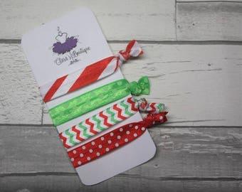 Christmas Elastic Hair Ties, Hair ties, party favours, holiday favours, foe hair ties