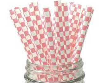 Pink and White Checkered Straws (25), Paper Straws, Drinking Straws, Cake Pops, Light Pink Checker Paper Straws, Party Supplies