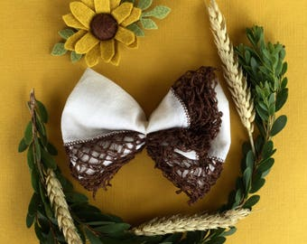 The Amelia | Vintage Hankie Bow | Baby Bow | Fall Bow | Baby Headband | Newborn Headband | Nylon Headband | Lace Bow