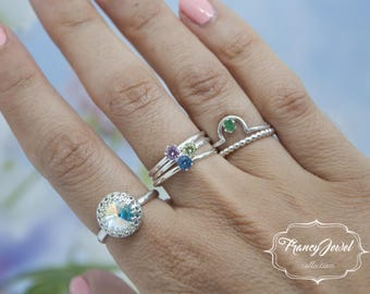 Trilogy, solitaire ring, diamond ring, birthstone ring, Argentium Silver, handmade ring, made in Italy, engagement ring, wedding ring