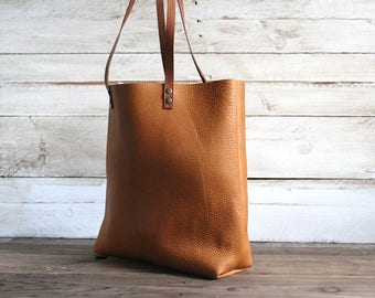 Camel leather tote bag, soft and strong spanish leather