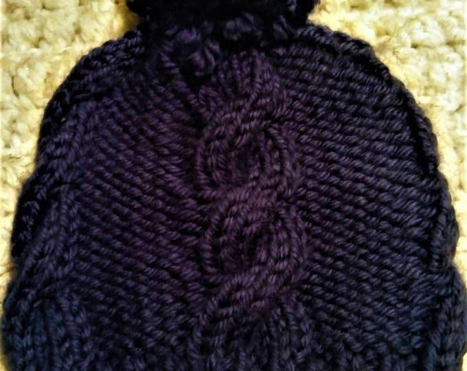 Soft Navy Blue Cable Knit Pom Pom Beanie