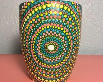 Mandala dot art painted mug