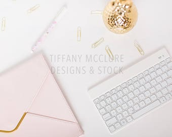 Styled Blush and Gold Pineapple Desktop Set | Styled Stock Photography