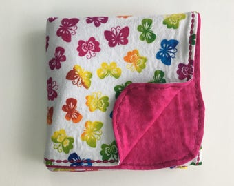 Multi Colored Butterfly Flannel Receiving Blanket With Decorative Edge Stitching (3 options available)